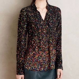 Anthropologie Maeve Dot Blouse Size 0